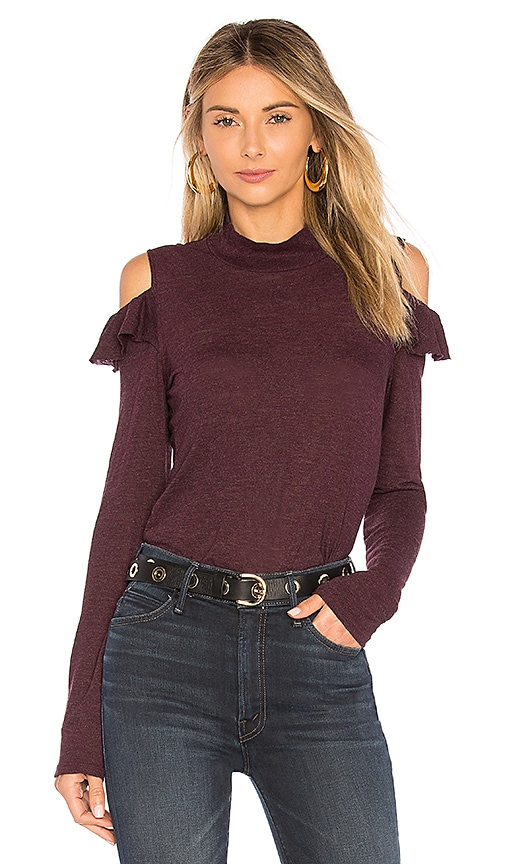 Lanston Cold Shoulder Ruffle Top in Wine