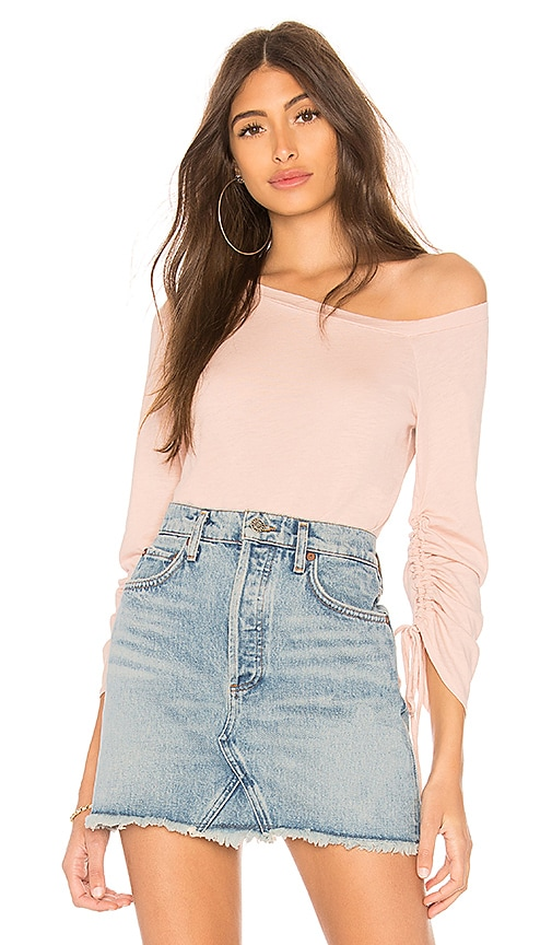 Lanston One Shoulder Drawstring Top in Pink