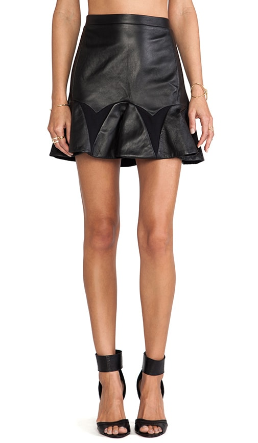 by David Helwani Audrey Leather Skirt