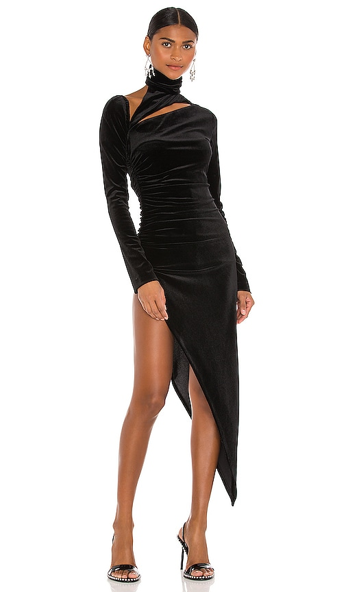 LaQuan Smith Asymmetrical Cut Out Dress in Black | REVOLVE