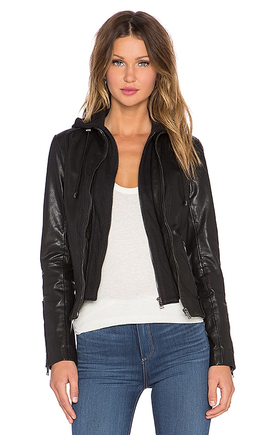 LaMarque Arlette Leather Jacket w/ Hoodie in Black