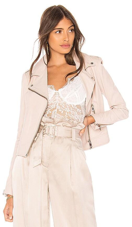LAMARQUE Donna Leather Biker Jacket in Blush