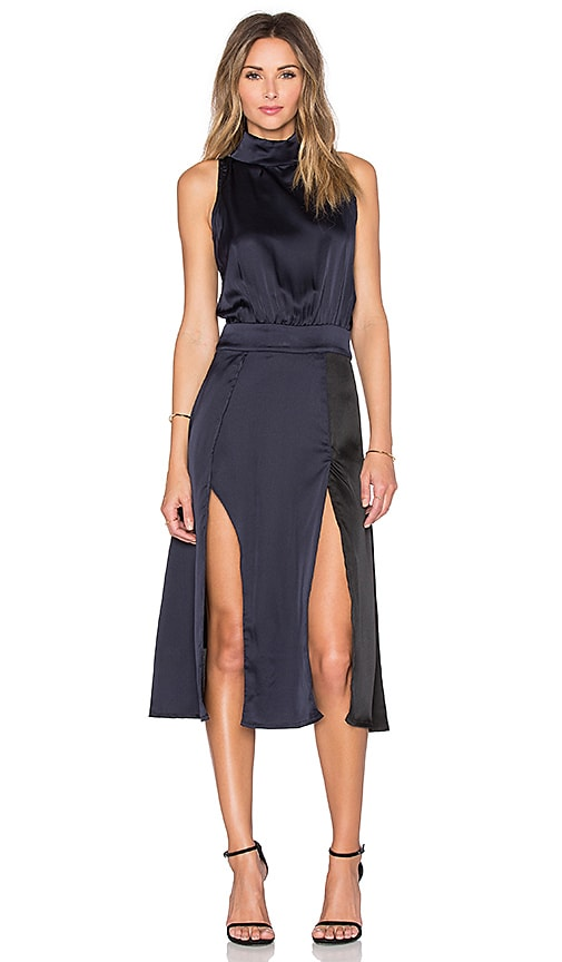 Lavish Alice Colorblocked High Neck Midi Dress in Black & Navy
