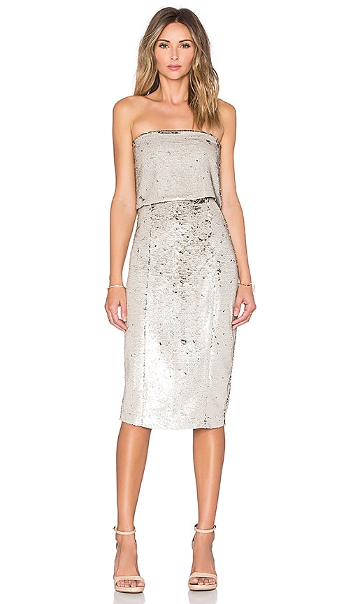 Sequin Bandeau Cropped Midi Dress