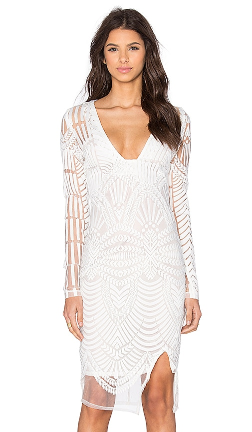 Lavish Alice Embroidered Mini Dress in White