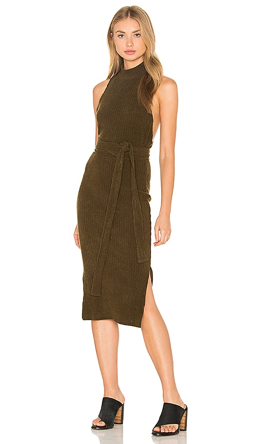 Lavish Alice Rib Knit Open Back Wrap Tie Midi Dress in Khaki