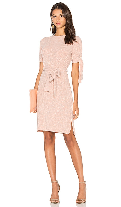 Lavish Alice Rib Jersey Tie Detail Dress in Blush