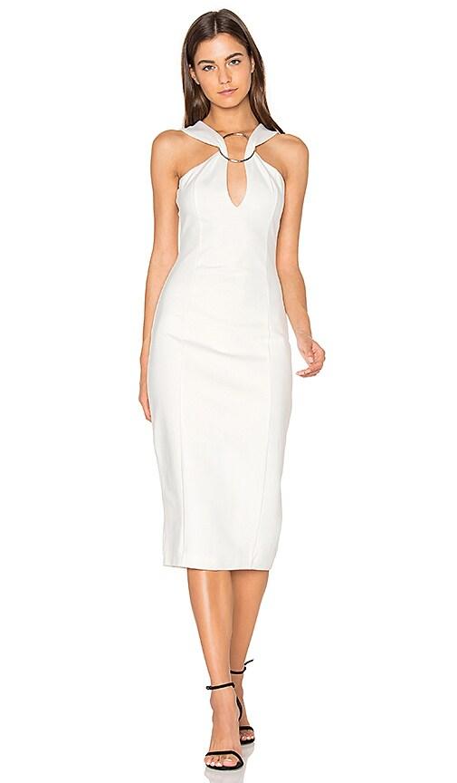 Lavish Alice Metal Ring Plunge Midi Dress in White