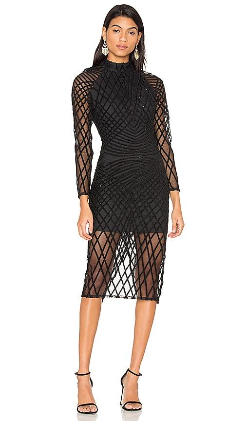 Lavish Alice Cross Hatch Velvet Sequin Dress in Black