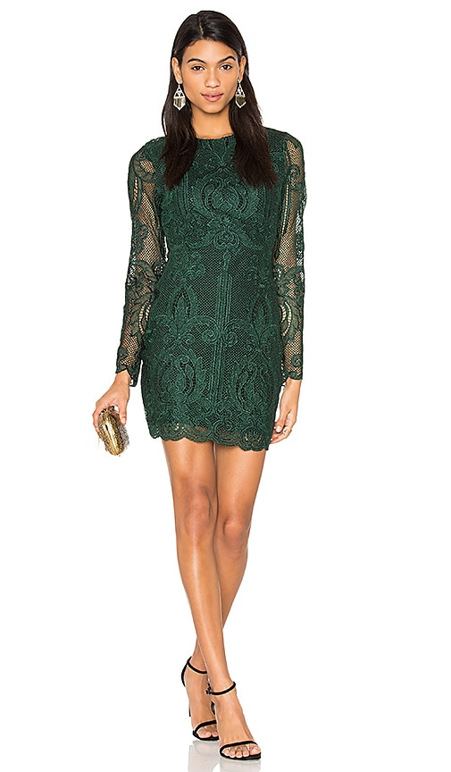 Lavish Alice Lace Open Back Dress in Green