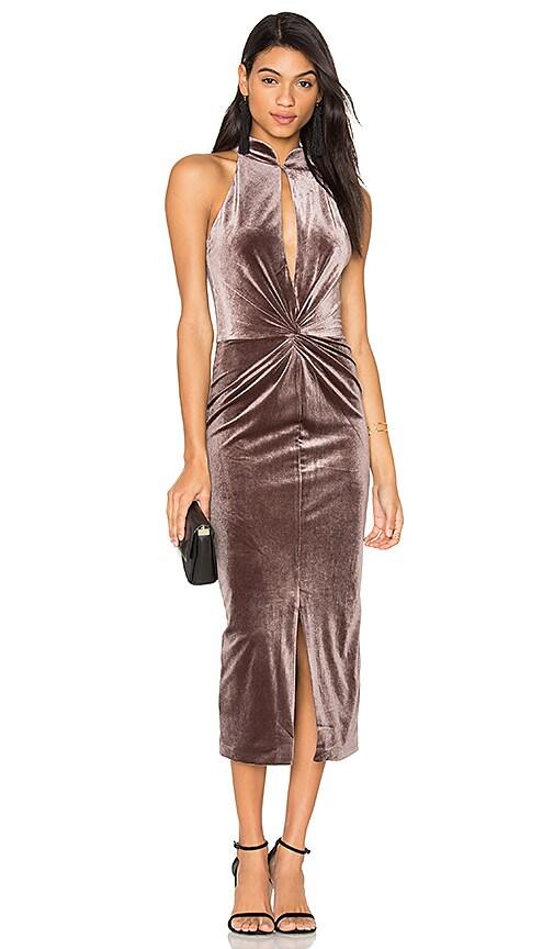 Lavish Alice Velvet Twist Front Dress in Gray