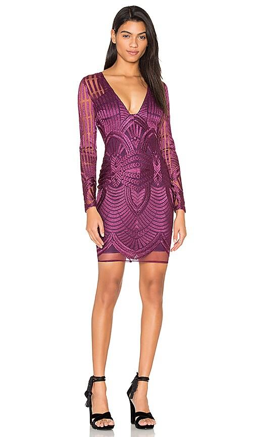 Lavish Alice Embroidered Mesh Plunge Dress in Purple
