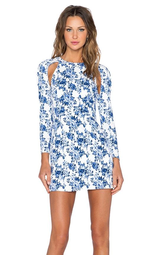 Lavish Alice Long Sleeve Mini Dress in Blue & White