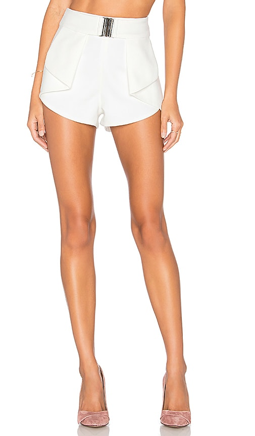 Lavish Alice Harness Belt Fold Back Short in White