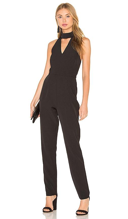 9cb45f0f04 Lavish Alice Keyhole High Neck Deep Plunge Jumpsuit in Black