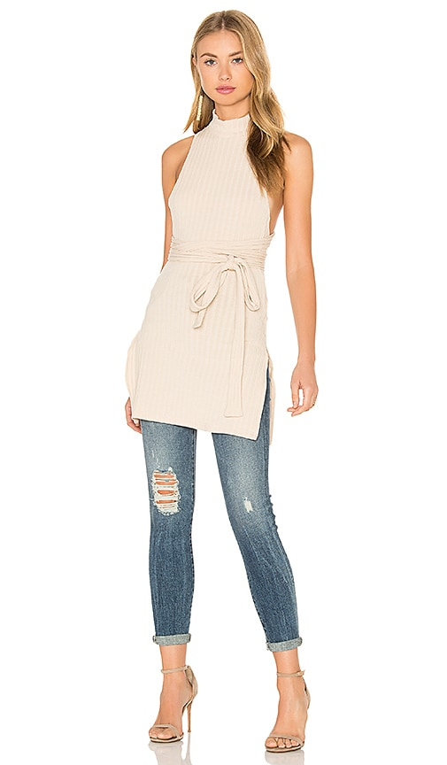 Lavish Alice Rib Knit Open Back Wrap Tie Tunic Top in Beige