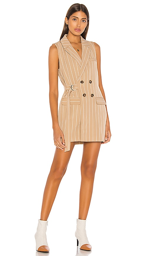 ed1babfe383 L Academie The Sylvie Mini Dress in Beige   White