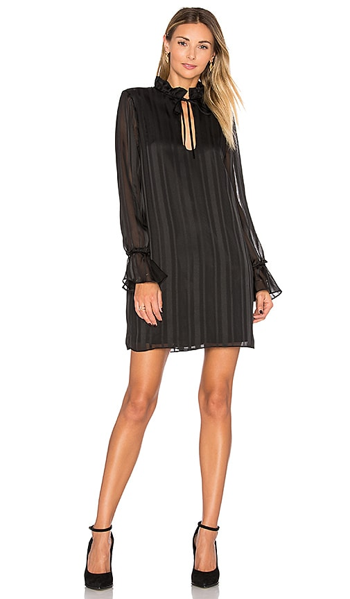 L'Academie The 70s Ruffle Sleeve Dress in Black