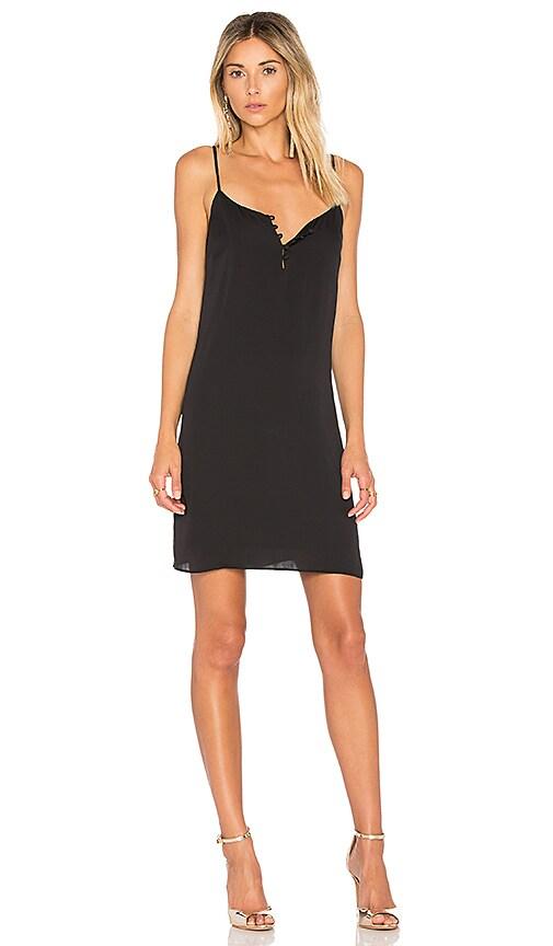 L'Academie The Mini Slip Dress in Black