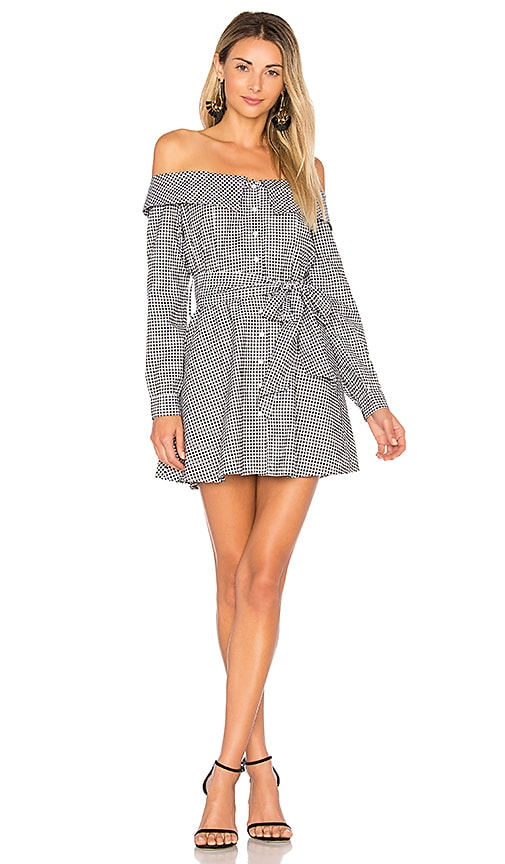 L'Academie x REVOLVE Jann Button Up Dress in Black & White