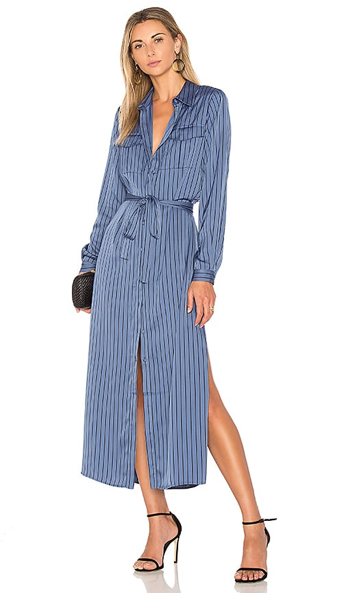 8a902d753ea L Academie The Long Sleeve Shirt Dress in Azure Pinstripe