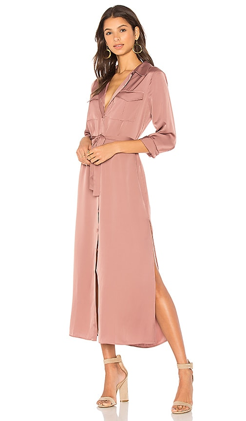 Tie Waist Shirt Dress in Blush. - size S (also in L,M,XS) 525 america
