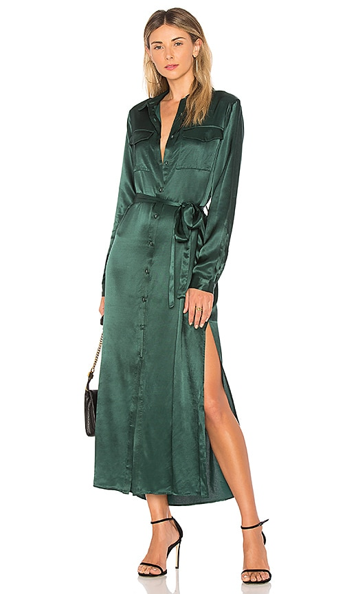 L'Academie The Long Sleeve Shirt Dress in Green