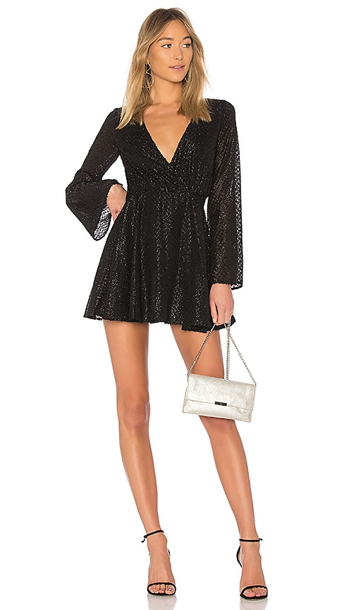 L'Academie The Wrap Mini Dress in Black