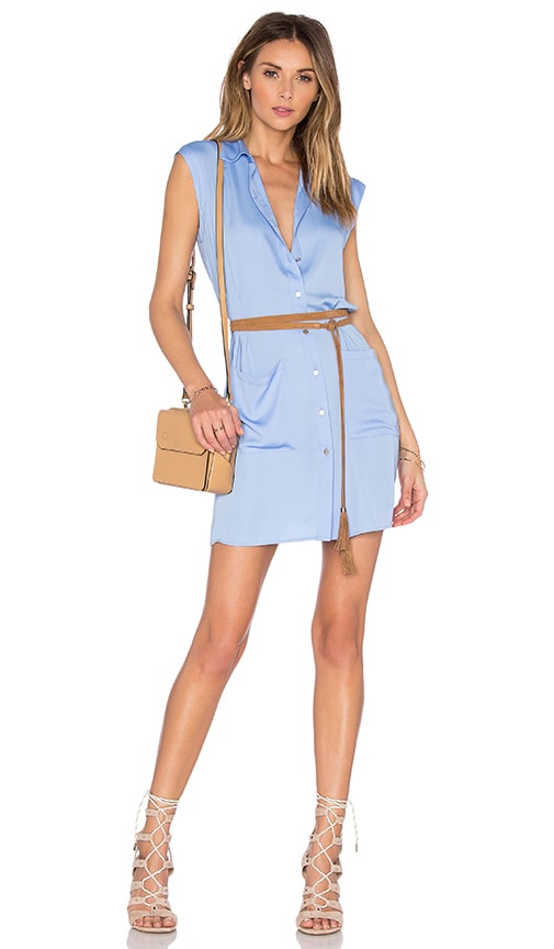 L'Academie The Sleeveless Shirt Dress in Blue