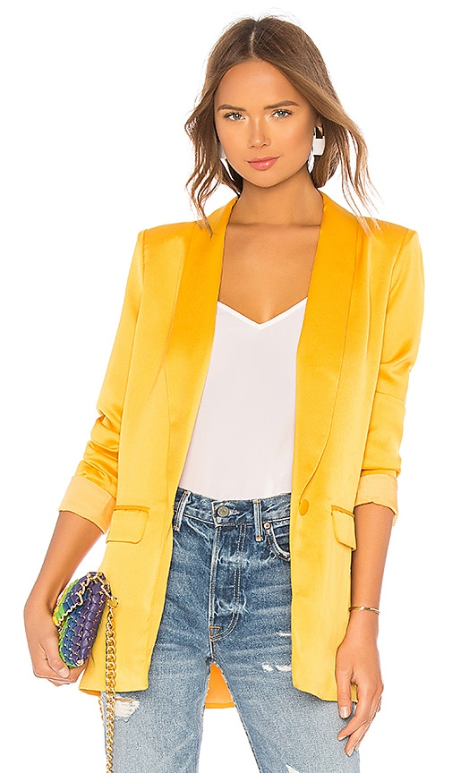 L'Academie The Fleur Blazer in Mustard Yellow | REVOLVE