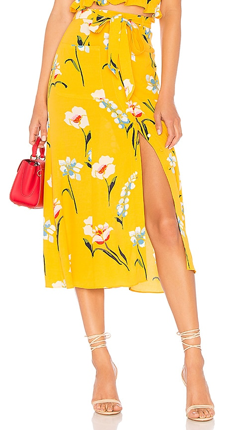 L'Academie Midi Skirt in Yellow