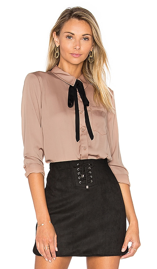 L'Academie The Classic Blouse in Tan