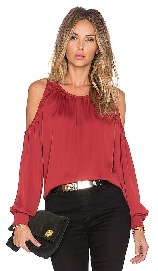L'Academie The Shoulder Blouse in Red