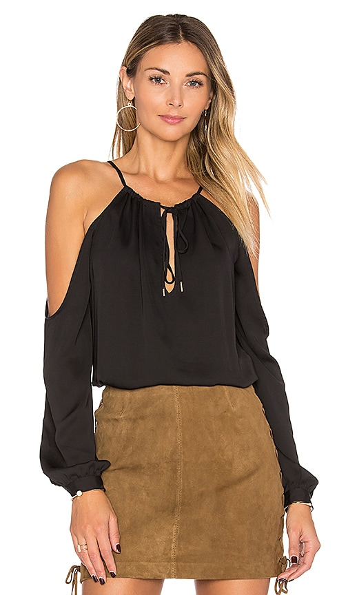 L'Academie The Deep V Shoulder Top in Black