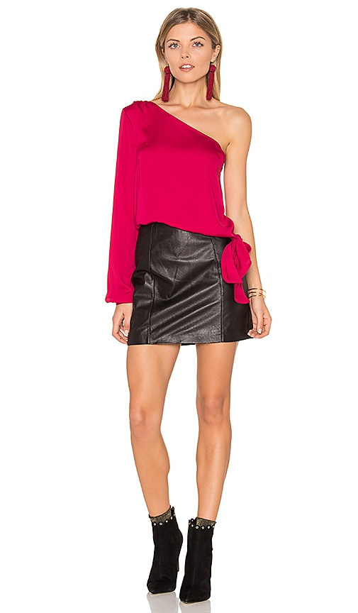 L'Academie The One Shoulder Blouse in Red