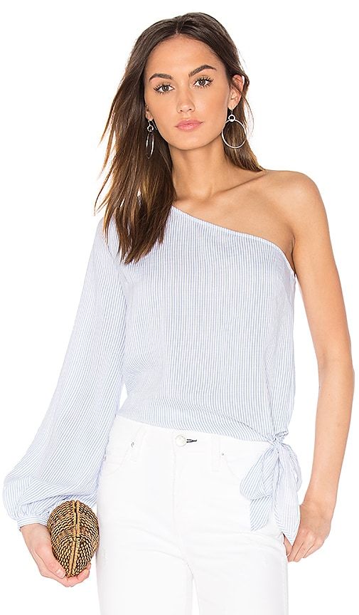 L'Academie The Romantic Sleeve One Shoulder Blouse in White