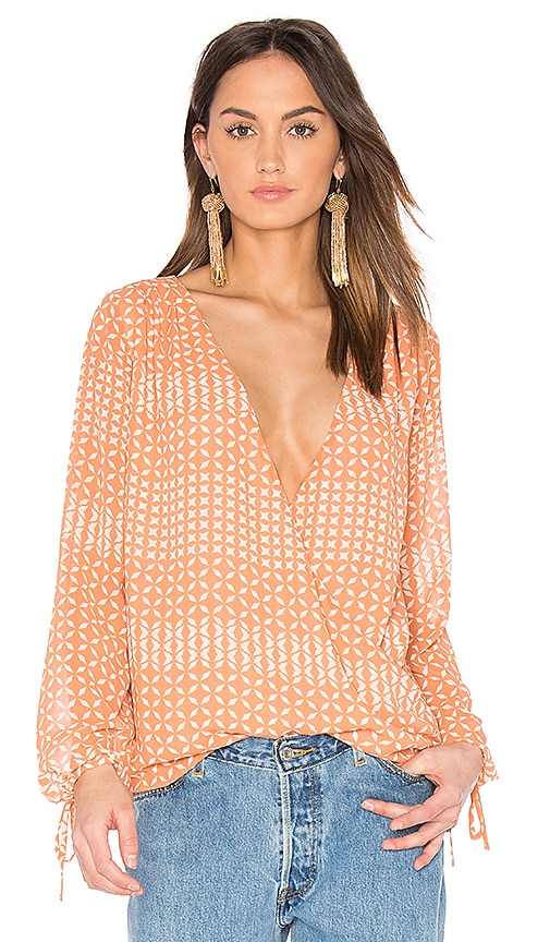 L'Academie The Long Sleeve Wrap Blouse in Pink