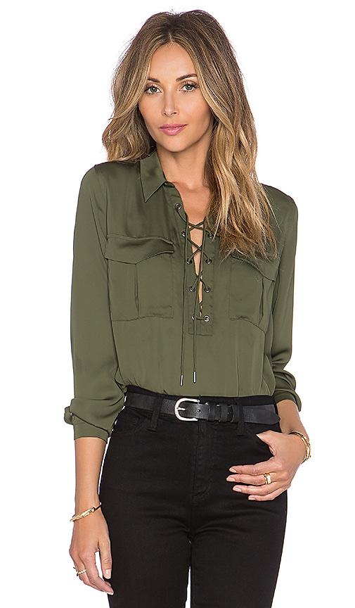 L'Academie The Safari Blouse in Olive