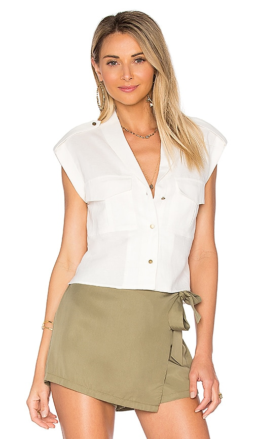 L'Academie The Safari Crop Top in White