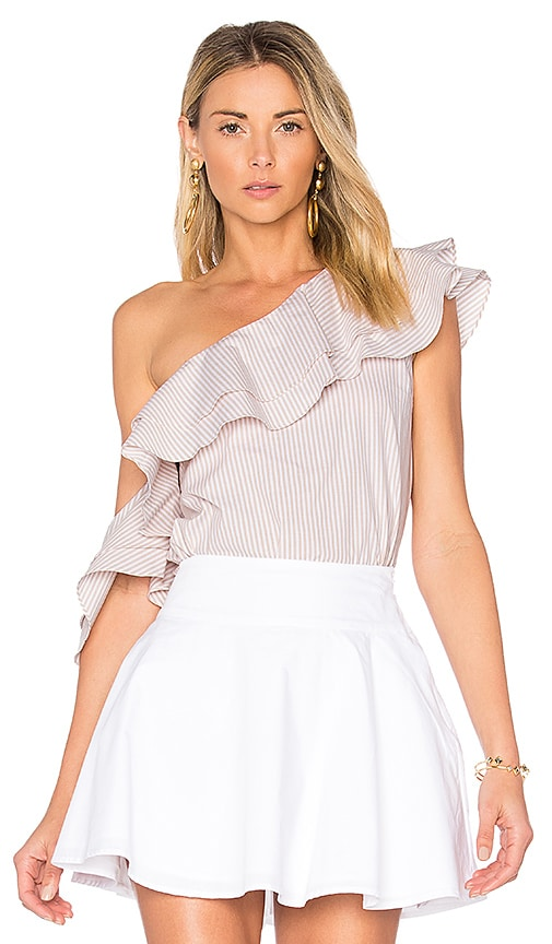 L'Academie x REVOLVE The Asymmetric Ruffle Blouse in White