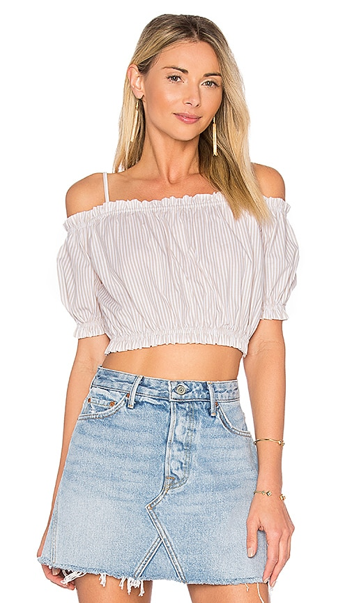 L'Academie x REVOLVE The Ruffle Crop Top in White