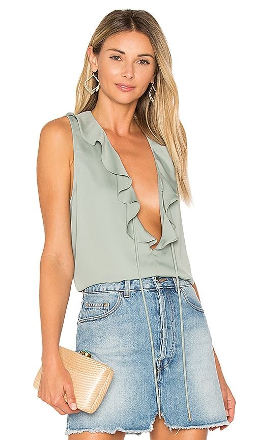 L'Academie The Ruffle Boho Tank in Sage