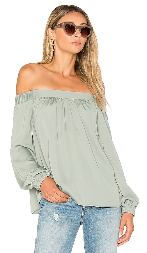L'Academie The Off Shoulder Top in Sage