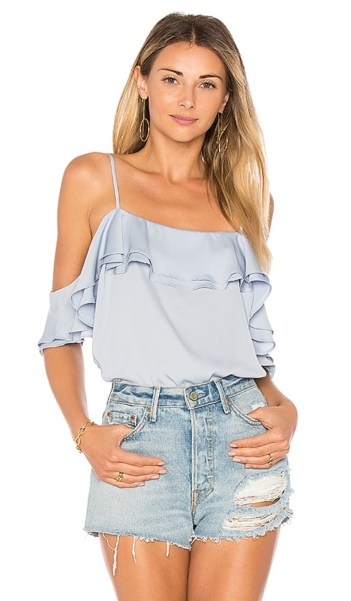 L'Academie The Off Shoulder Bodysuit in Blue