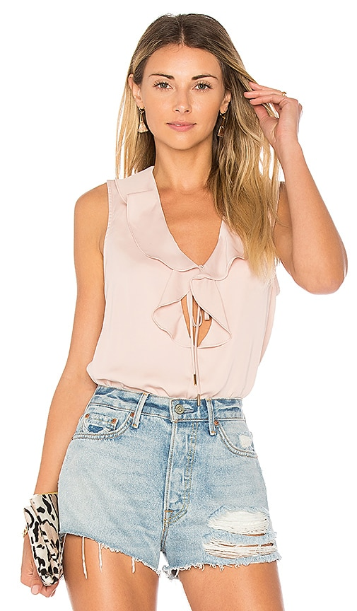 L'Academie The Ruffle Boho Tank in Blush
