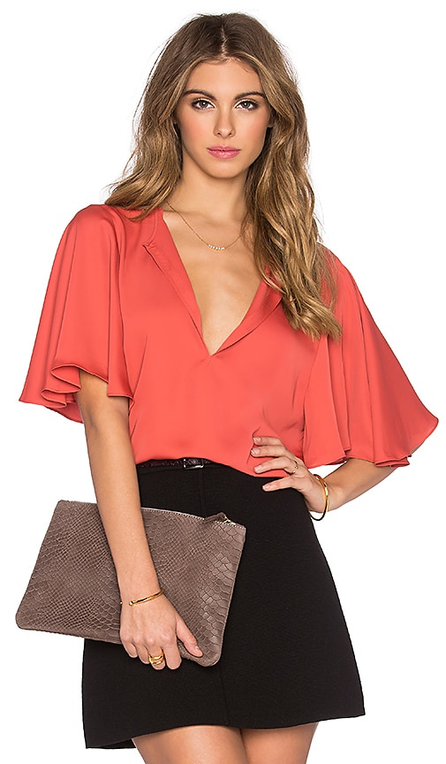 L'Academie The Billowy Blouse in Red Orange