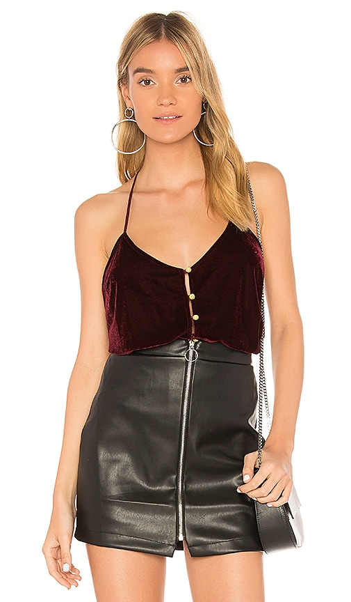 L'Academie The T-Back Cami in Wine