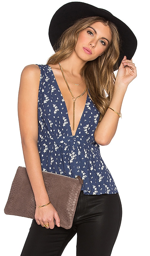 L'Academie The Peplum Blouse in Blue Floral