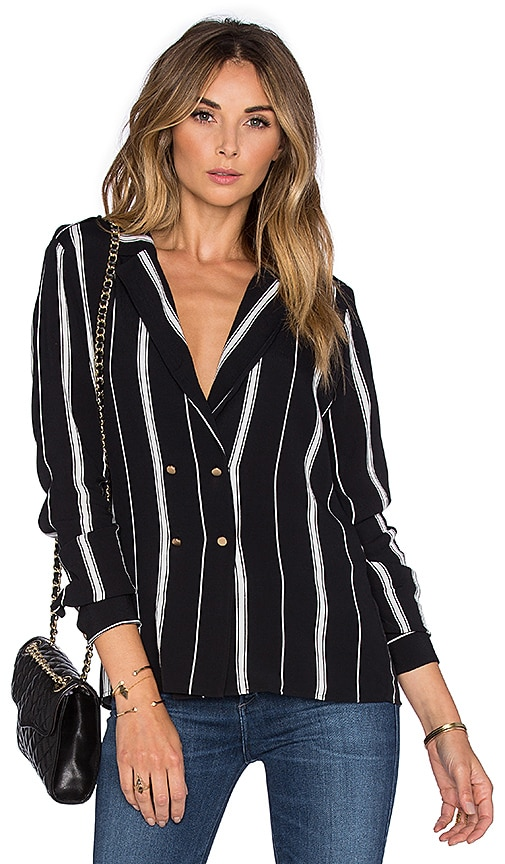 L'Academie x REVOLVE The Military Blouse in Beige Stripe