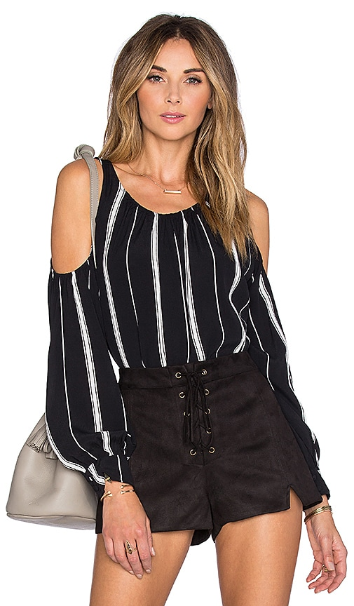 L'Academie x REVOLVE The Shoulder Blouse in Beige Stripe